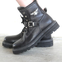 Vintage HARLEY DAVIDSON Lace Up Motorcycle Combat Boots // Strappy // Grunge Hipster Biker // Women's US 8.5 / 9