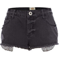 Black denim leopard print pocket hotpants