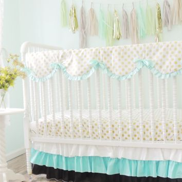 Tiered Baby Bedding | Black, Aqua Crib Bedding Set