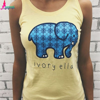 Gagaopt  Tank Tops Cute Elephant Print Sleeveless 4 Colors Candy Color Summer T-shirt Blusa