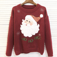 Round-neck Long Sleeve Embroidery Christmas Pullover Sweater [9307404548]