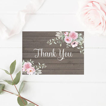 Shabby Chic Watercolor Floral Thank You Card, Printable Thank You Card, Peonies Thank You Card, Printable Floral Wedding Thank You, Digital