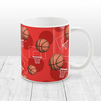 Red Basketball Mug - Sports Themed Basketball Pattern on Red - Basketball Coffee Mug - 11oz or 15oz - Made to Order