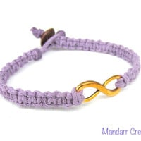 Infinity Bracelet, Lavender Purple Hemp Jewelry with Gold Tone Infinity Charm