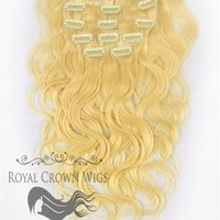 Brazilian 9 Piece Body Wave Human Hair Weft Clip-In Extensions in #613