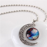 Star And Crescent Moon Shape Artificial Gemstone Pendant Necklace