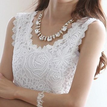 Women's Sleeveless Camisole Lace Tank Top.   In Sizes Small to 4XL.    Available in White and Black.    ***FREE SHIPPING***