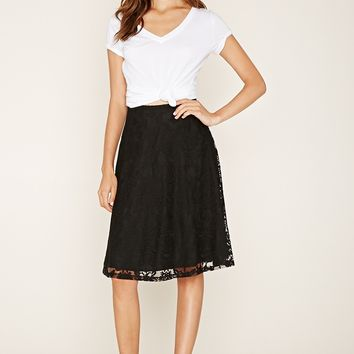 Baroque Lace Knee-Length Skirt