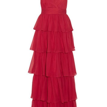 Alice + Olivia - Gianna tiered silk-georgette gown