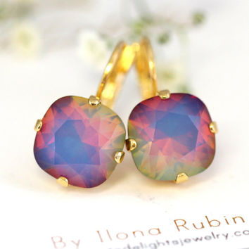 Rainbow Earrings, Swarovski Opal Earrings, Drop Earrings, Purple Earrings, Bridesmaids Earrings, Rainbow Drop Earrings, Gift for Her