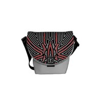 Black and Red Maze Abstract w/Silver Dust Courier Bag
