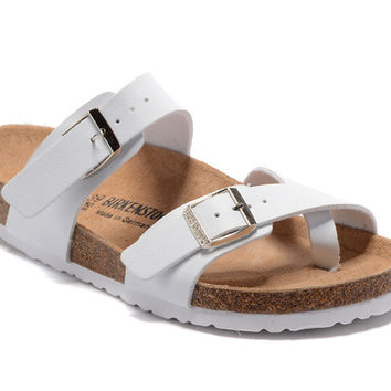 398738d24bf8 2017 Birkenstock Summer Fashion Leather Cork Flats Beach Lovers
