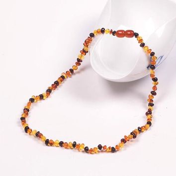 Let's Make Natural Baltic Amber Baby Teething Necklace Rainbow Color Leaves Beads Baltic Amber Baby Teething Necklace