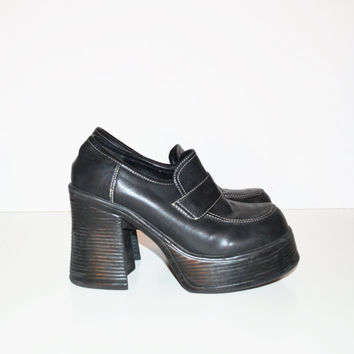 Vintage 90s Chunky Heel Shoes Black Shoes Funky Chunky Rave Club Kid Grunge Goth Platform Shoes Size 8