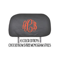 2 Monogrammed Universal Fit Headrest Covers For Cars Trucks and SUVs