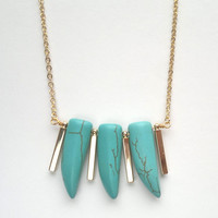 Turquoise Tusk and Gold Bar Necklace Turquoise Tusk Spike Tooth Horn Pendant Vertical Bar Pendant Turquoise Jeelry Gold Boho Necklace