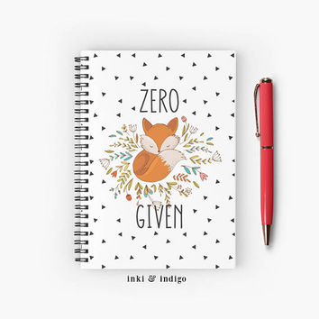 Zero Fox Given - Spiral Notebook With Lined Paper, A5 Writing Journal, Diary, Lined Journal, Cute Fox Notebook
