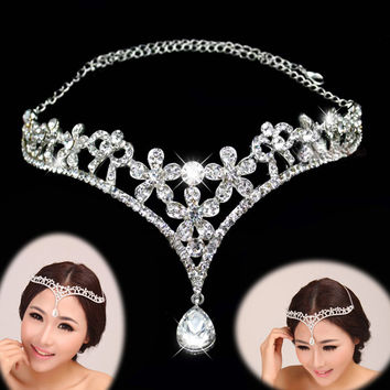 2016 Fashion Silver Crystal Head Jewelry Headpiece Wedding Bridal Tiaras And Crowns For Party Wedding Hair Accessories