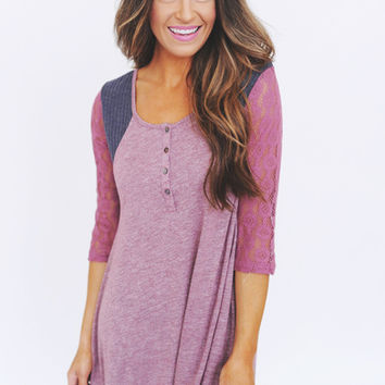 Two Tone Lace Sleeve Top- Wine
