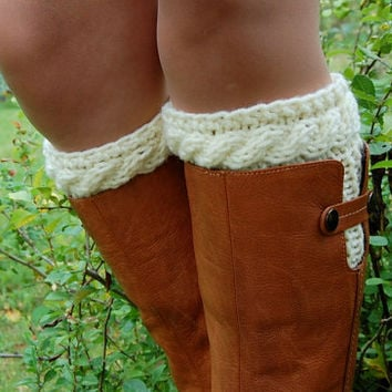 Knitted Boot Cuffs, Hand knit Boot Cuffs, Boot Socks, Wool Boot Cuffs,Womens Boot Cuffs, Leg warmer, Womens Boots Socks