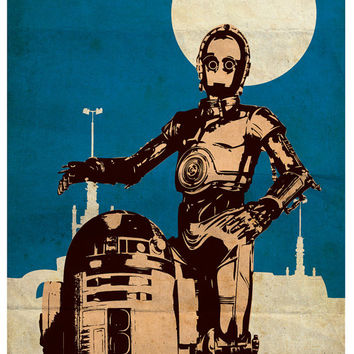 "Vintage Pop Art Star Wars Series A - Obi-Wan Kenobi - R2-D2 - C-3PO for 40 Dollars - 11""X17"" Print"