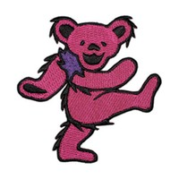 Grateful Dead Men's Embroidered Patch Pink