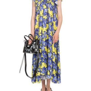 Balenciaga Poppy-Print Cap-Sleeve Midi Dress