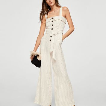 Linen-blend striped jumpsuit - Women | MANGO USA