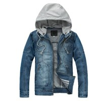 Mens New Fashion Zip Up Thick Denim Jacket Light Blue M