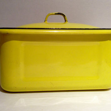 Vintage Yellow Enamel Refrigerator Container with Lid or Surgical Sterilized Equipment Container