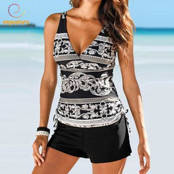 2017 New Swimsuit Women Tankini Plus Size Swimwear Two Piece Swimsuit Push Up Bikini Set Halter Tankini Bathing Suits Beach Wear