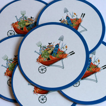Set of 6 Garden Themed Coasters.