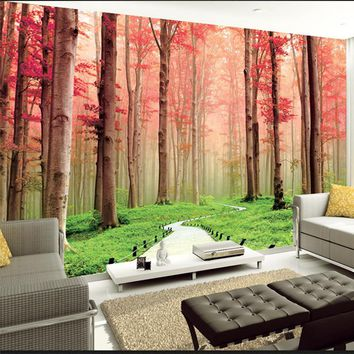 Two Colors 3D Wall Mural Wallpaper Foresr Landscape Bedroom Home Decor Custom Photo Wall Paper Natural Mural Wall Contact Papers