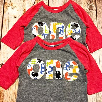 Farm barn birthday shirt one 1st red grey Boys 1 year old Birthday cow print pig chicken lamb bandana horse animal tractor two 2nd 1 2 3 4 5