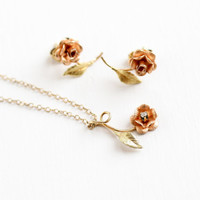 Vintage 14k Rose, Yellow Gold Overlay Two Tone Flower Diamond Necklace & Earring Set - 1970s Stud Earrings Jewelry in Original Box, Krementz