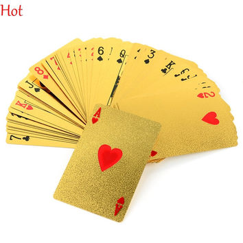 EUR Dollar Waterproof Plastic Playing Cards Gold Foil Poker Golden Poker Cards 24K Gold-Foil Plated Playing Cards Poker Table Games TK1352
