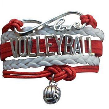 Girls Volleyball Infinity Bracelet- Red