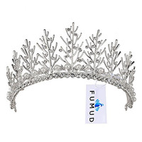 FUMUD Vintage Wedding Bridal Rhinestone pearl Gold Headband Crown Tiara Hair Accessories (Silver)