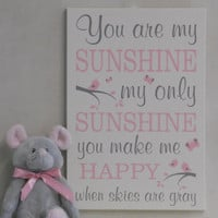 You Are My Sunshine Wall Art, Lullaby Art Nursery Decor, Song Rhyme Quote Artwork, Pink / Gray Sunshine Wall Quote Nursery Song, Kids Decor