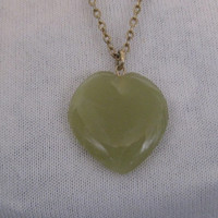 "VintageNecklace/ ""APPLE JADE""/ Gemstone Pendant/Heart Shaped"