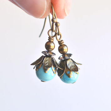 Amazonite earrings, woodland earrings, boho flower drop earrings, antique brass dangle earrings, flower petal brass earrings, womens jewelry