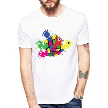 New Fashion Color monsters Design Men T-shirt White Short Sleeve Hipster Tops Magic cube Printed t shirts Cool tee