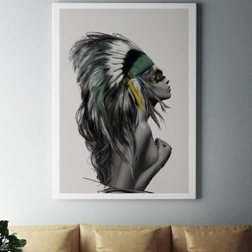Nordic Poster Feather Indian Women Wall Art Canvas Painting Posters Prints Canvas Art Wall Pictures For Living Room  bj006
