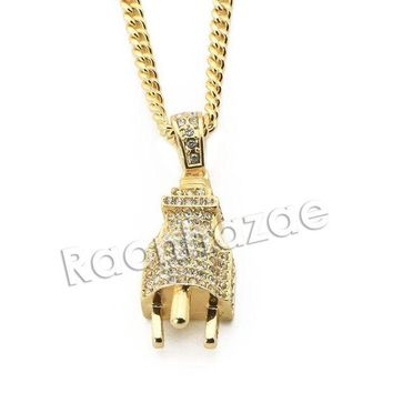ONETOW Mens Iced Out Brass Bling Electronic Plug Pendant w/ 5mm 24' 30' Cuban Chain A03