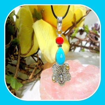 Wisdom & Balance Sleeping Beauty Turquoise Coral Sterling Silver Pendant