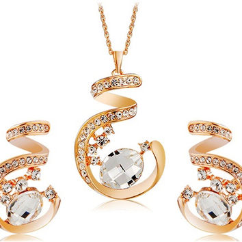 NEOGLORY Crystal Decorated Spiral Pendant Alloy Necklace & Earrings Set