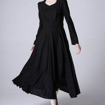 Black linen dress women long dress maxi dress prom dress (1168)