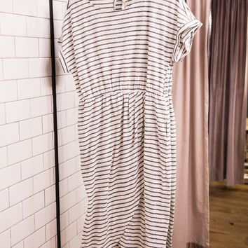 Striped Wrap Front Maxi, Ivory