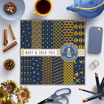 Navy Gold Digital Paper Navy Blue Gold Foil Paper Gold Pattern Cardmaking Invites Stationary Gold Background Navy Blue Gold Scrapbook Paper