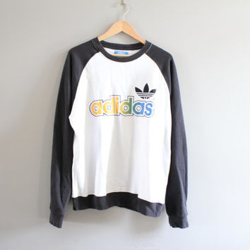 Adidas Trefoil Long-Sleeved Sweatshirt Cotton Adidas Pullover Adidas Sweater Vintage Minimalist 90s Size L #T169A